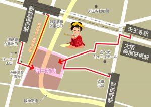 飛田新地 求人のアクセスマップ